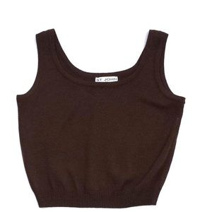 St. John Knit Cami tank Top in Brown made in USA